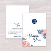 Hydrangea & Rose - Thank You Card A6 Folded